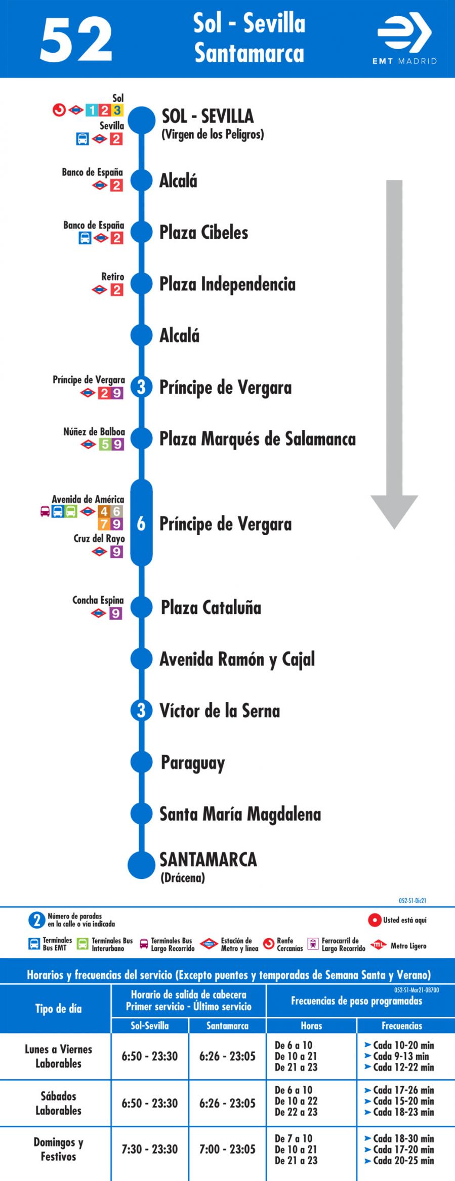 Horarios de autob s 52 puerta del sol santamarca for Del sol horario