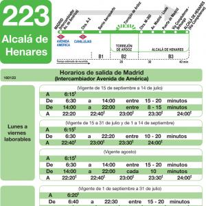 Horarios de autob s 223 madrid alcal de henares san for Autobuses alcala de henares