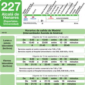 horarios de autob s 227 madrid alcal de henares san