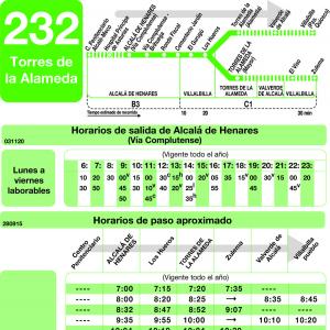 Horarios de autob s 232 alcal de henares villalbilla for Autobuses alcala de henares