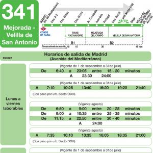Horario de ida Línea 341 Autobuses Interurbanos