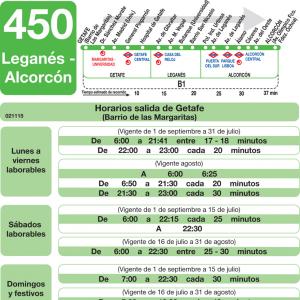 horarios de autob s 450 legan s alcorc n getafe