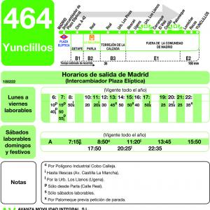 Horario de ida Línea 464 Autobuses Interurbanos