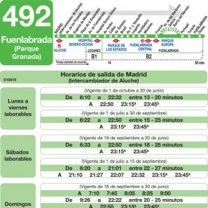 horarios de autob s 492 madrid fuenlabrada legan s