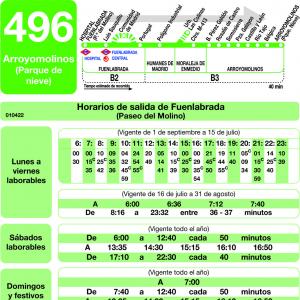 Horario de ida Línea 496 Autobuses Interurbanos