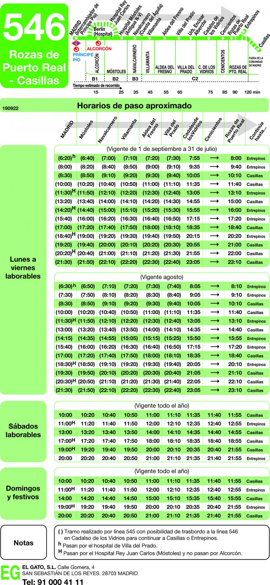 Horario de ida