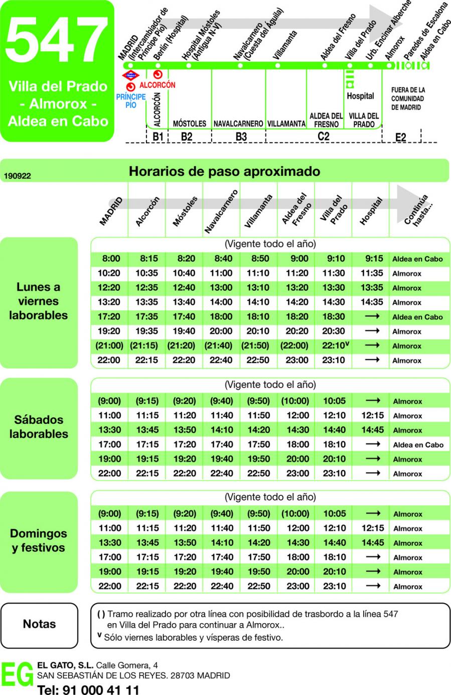 horarios autobuses gato: