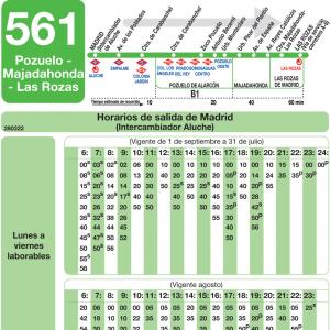 Horario de ida Línea 561 Autobuses Interurbanos