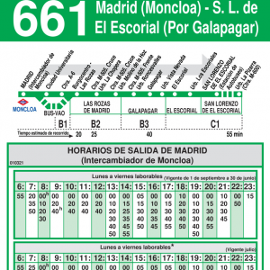 Horario de ida Línea 661 Autobuses Interurbanos