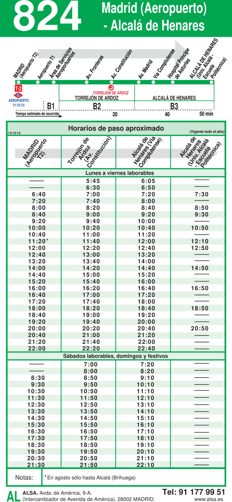 Horarios de autobús 824: Madrid - Alcalá de Henares - Torrejón de Ardoz