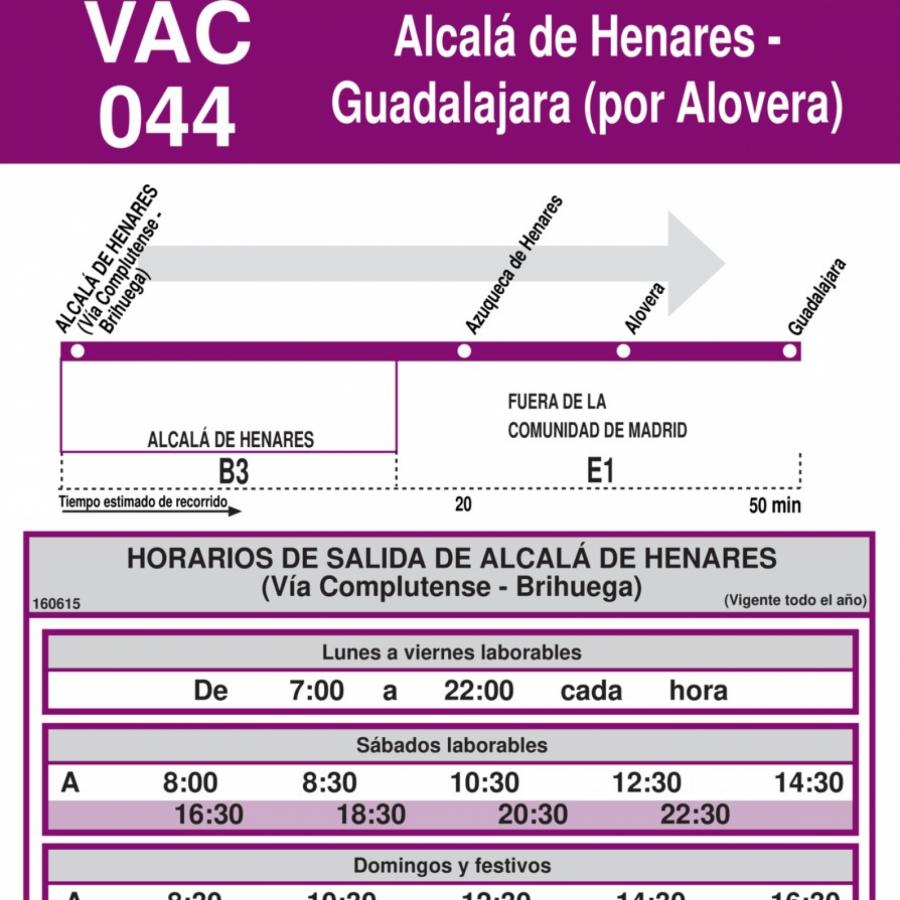 Horarios de autob s vac 044 alcal de henares azuqueca for Autobuses alcala de henares