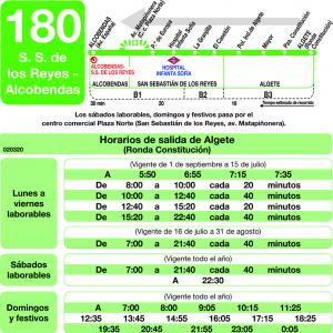 horarios de autob s 180 alcobendas san sebasti n de los