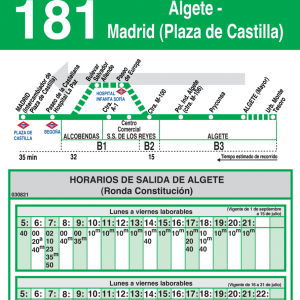 horario autobuses algete madrid 181