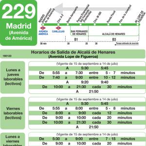 Horarios de autob s 229 madrid alcal de henares san for Autobuses alcala de henares