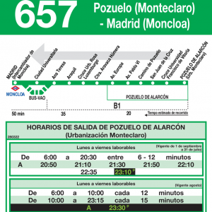 Horario de vuelta Línea 657 Autobuses Interurbanos