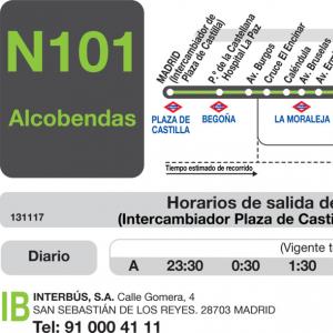 Horarios de autob s n 101 madrid alcobendas san for Trabajo en alcobendas y san sebastian de los reyes