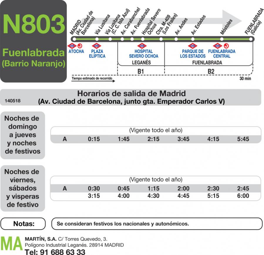 horario autobuses nocturnos: