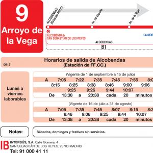 Horarios de autob s l 9 alcobendas san sebasti n de los for Horario renfe alcobendas