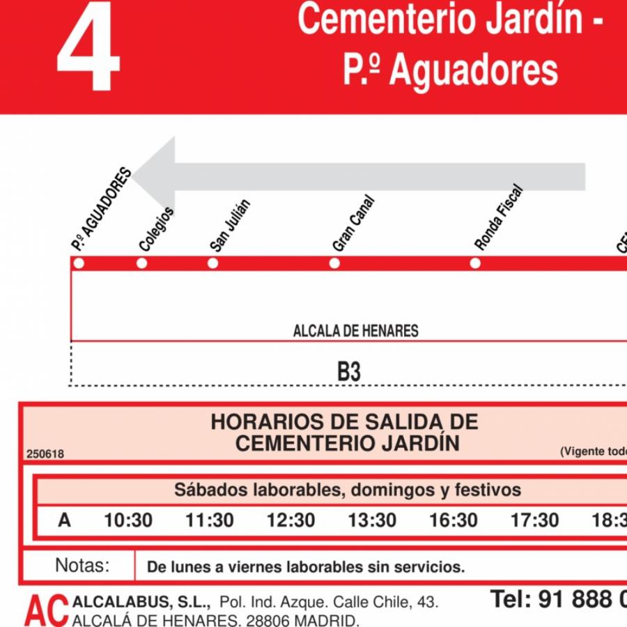Horarios de autob s l 4 alcal de henares for Cementerio jardin de alcala de henares